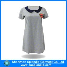 Kundenspezifische Damen-Art und Weise gestickte Baumwolllange Polo-T-Shirt