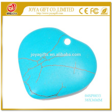 Semi pierres précieuses Collier bijoux en turquoise Pendentif coeur 38MM