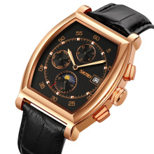 SKMEI 9247 Automatic Mens Watch Manual Winding Mechanical Luxury Moon Phase Waterproof Leather Strap Wrist Watches