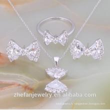 En gros blanc bijoux en cristal ensemble diamant américain collier ensembles bijoux plaqués rhodium est votre bon choix