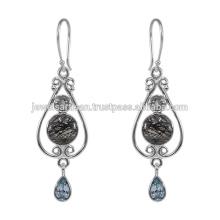 Tourmanilated Quartz E Multi Gemstone 925 Sterling Silver Earring