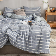 Made in China Home Bedding 3 PCS Double Bed Cheap Price Cotton Bedding Steel Blue Striped