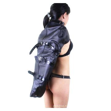 Популярные женские перчатки с рукавами Назад Bondage Sm Кожаные с одной связкой Binder Ограничители Armbinder