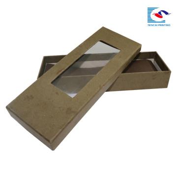 atacado nova caixa de embalagem de papel de presente gravata projeto com janela de pvc