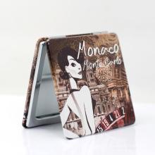 New Cheap Custom Metal Pu Leather Mini Wooden Souvenir Pocket Mirror