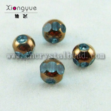 round gold coated crystal Plated Bead