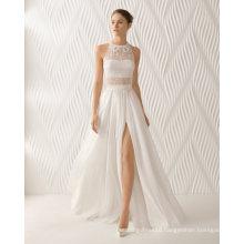 Lace Beaded Chiffon Side Slit A Line Evening Bridal Wedding Dress (RS011)
