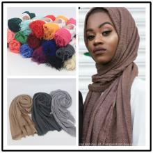 Alta qualidade cachecol muçulmano mulheres hijab cor sólida rayon algodão dobra cachecol hijab