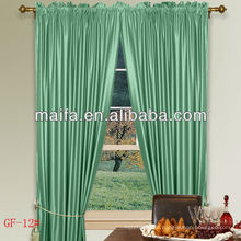 Ready Made Rod Pocket 100% Polyester Plain Blackout Curtain With Hooks