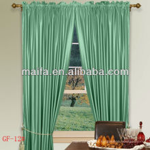 Pronto feito Rod Pocket 100% poliéster planície Blackout cortina com ganchos