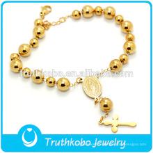 Dernière Conception Bracelet De Perles En Or 2016 En Gros Christian Chapelet Bracelet avec Croix et Vierge Marie