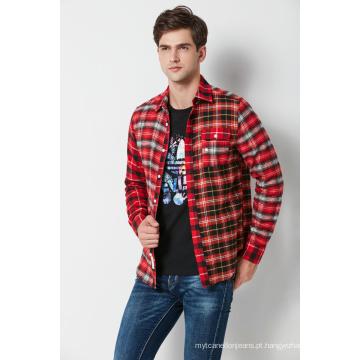 Camisa tingida fio do flanel da verificação dos homens