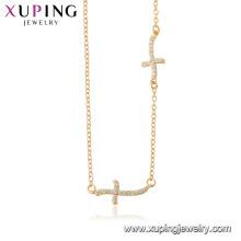 44518 xuping 18 k or couleur en gros bijoux de mode religion croix collier