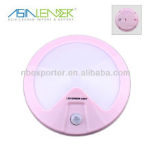 Luz de sensor LED de movimiento redondo inalámbrico rosa