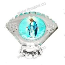 Religiöse Kristall 3D Laser Gravur Geschenke, katholische Statue mit Lampen