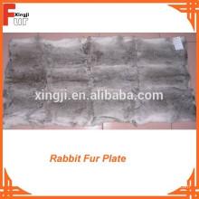 Placa de piel de placa de conejo gris natural