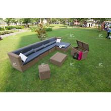 Impresionante Diseño Seccional Patio Jardín Sofá Set Muebles de mimbre