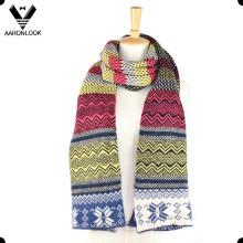 Moda Invierno colorido jacquard multi-patrón bufanda