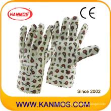 Printed-Flower Vinyl Cotton Garden Industrial Hand Safety Work Gloves (41012)