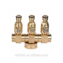 3 way brass hose connector with valve