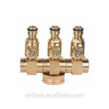 Brass garden hose 3 valve manifold