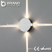 IP44 внутренней отделки стен вверх и вниз светодиодный настенный светильник, круглый и квадратный светодиодный настенный светильник