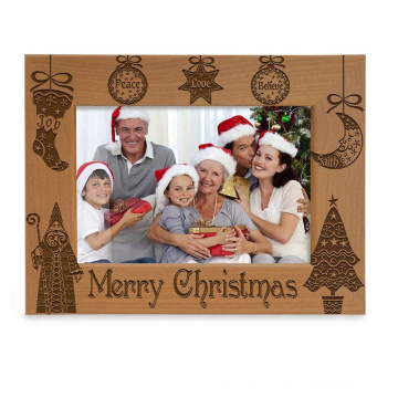 Horizontal design 5x7 Vintage brown christmas decoration Engraved Natural Wood Merry Christmas Picture Frame for christmas gift
