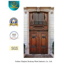 Double porte de style classique avec sculpture pour l'extérieur (m2-1008)