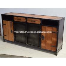 Painel lateral de metal industrial, painéis e gaveta de madeira ferroviária recuperada