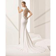 Hollow Back Cap Sleeve Mermaid Bridal Gown Wedding Dress