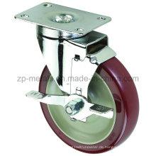 3inch mittelgroße Biaxial Bordeaux PVC Caster Räder mit Seitenbremse