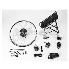 Kit de conversión de bicicleta eléctrica DIY con batería panasonic de rack de iones de litio de motor de cubo sin escobillas