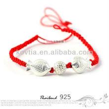 925 prata ouro peixes cadeia pulseiras novo produto pulseira corda trançada