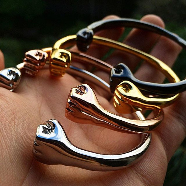Mens Gold Plated Stainless Steel Double Fist Bangle