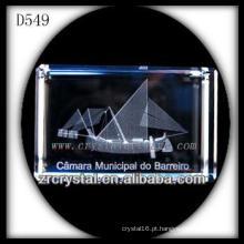 Imagem de sub-superfície de laser K9 3D dentro de retângulo de cristal