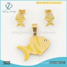 Cute brincos de peixe e conjuntos de lockets, 316l ouro amarelo grande moda jóias conjunto atacado