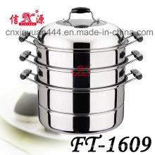 3 couches d'acier inoxydable économiseur d'énergie vapeur Pot (FT-1609)