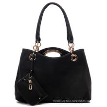 Fashion PU Leather Tote Bag 2 in 1 Set Lady Handbag