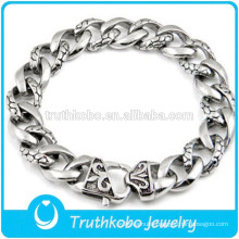 Top Quality Skull Bracelet Mens boys 316L Stainless Steel Cool Skull Fleur De Lis Links Bracelet for Men