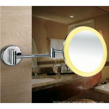Espejo de afeitar con luz LED de montaje en pared de marco acrílico para baño