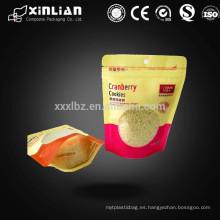 Precio de fábrica Bolsa plástica de cierre con cremallera de aluminio para embalaje de alimentos