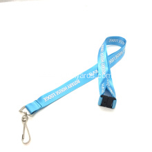 Light Blue Shiny Nylon Lanyard for Gift