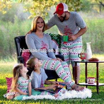 2016 Hot sell in stock grey color printed kids plain christmas pajamas