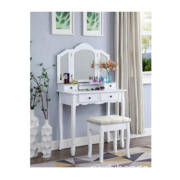 Furniture display White Wooden Vanity makeup table mirror