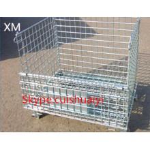 Recipiente empilhável e dobrável resistente da rede de arame para o armazenamento