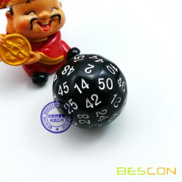 Bescon Polyhedral Dice 50-sided Gaming Dice, D50 die, D50 dice, 50 Sides Dice, 50 Sided Cube of Black Color