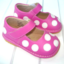 Hot Pink with White Polka Dots Toddler Girl Squeaky Shoes