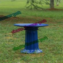 Mangeoire à oiseaux en poterie bleue pour oiseau