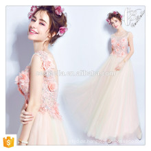 Chic Formal Pink Beaded gedruckt Floral Ballkleid Heimkehr Kleid für reife elegante Frauen Abendkleider