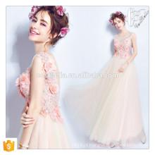 Chic Formal Pink Beaded Printed Floral Ball Gown Vestido Homecoming para Casal Elegante Mulheres Vestidos de noite